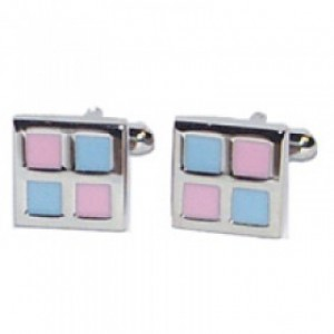 F3G1Rectangle Preppy Pink and Blue Checkered Male Cufflinks