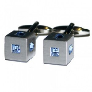 Silver Cube CuffLinks with Blue Crystal Studs