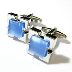 F3G1 Light Blue Cat Eyes Block Fiber Optic Stone Gemelos Cufflinks.