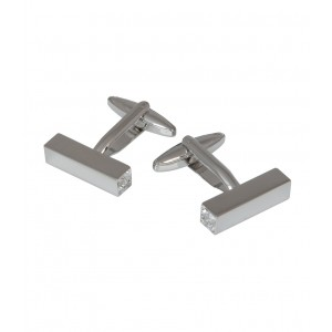 F3G1 Unisex Silver Prisms Cufflinks