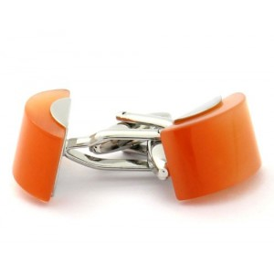 F3G1 Unisex Cat Eye Orange Opaque Cufflinks.