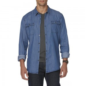 Structure Mens Chambray Long Sleeve Shirt