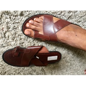 Flower Men's Leather Palm Slippers