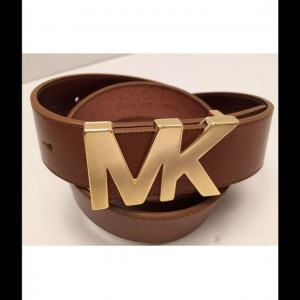 Michael KORS Cognac Brown Gold Buckle MK Unisex Belts