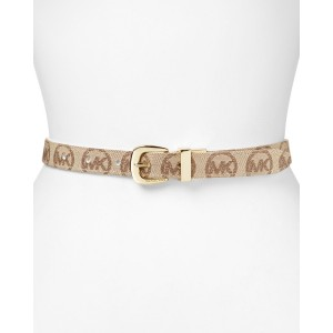 Michael Kors Vanilla Fabric Monogram Belts with Gold Buckle