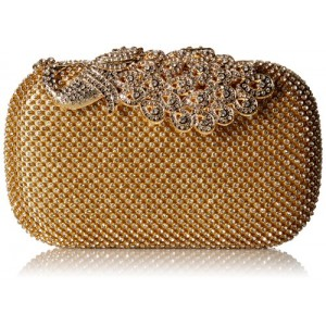 Ur Eternity Peacock Motif Gold Diamond/Clear stone Clutch/evening purse