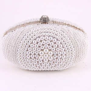 Ur Eternity Pearl Oval Pave Beaded Women Clutch Bag Diamond Vintage