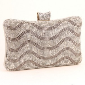 Ur Eternity Water Waves Patterned Rhinestone Clutch Bag