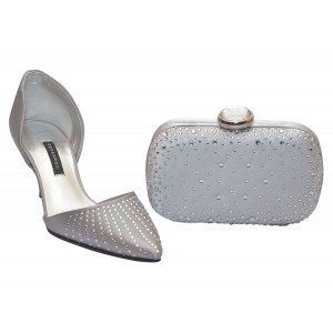 Silver Satin Clutch bag with crystal studs