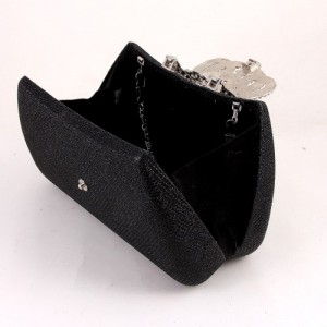 Ur Eternity Black Satin sequinned Clutch Evening Bag