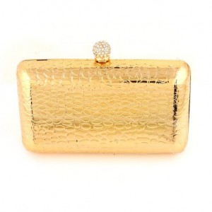 Champ RHINESTONE SNAP CLOSURE GOLD MIRROR EVENING BAG