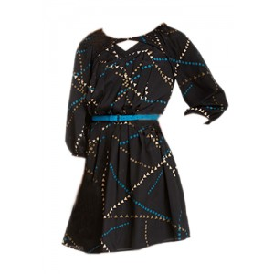 Jessica Simpson Pleated Geo Pattern print Dress
