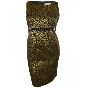 Kasper Separates Women's Beaded Metallic Jacquard Sheath Dress
