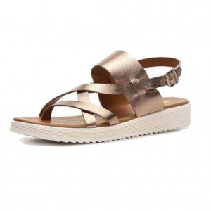 White Mountain Canal Flat Sandal Gold