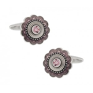 F3G1 Art Deco Style Silver with Pink Crystals Unisex Cufflinks