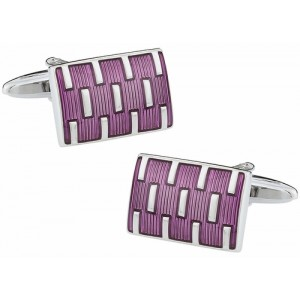 F3G1 Purple Colored with Silver Dash Detail Cufflinks