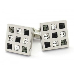 F3G1 Black and Clear Crystal Square Mens Cufflinks