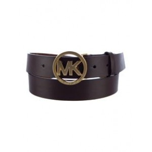 Michael Kors Chocolate Brown Female Belt with silver MK in circle