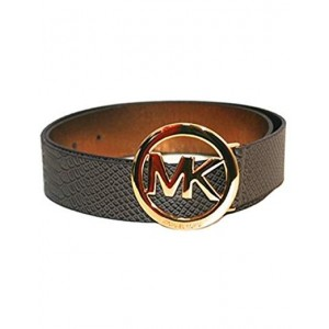 Michael Kors Female Faux Reptile Skin Belt with MK in Gold circle
