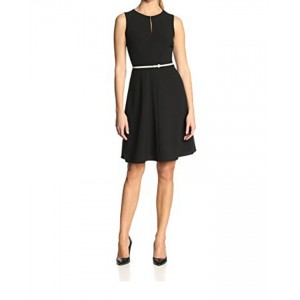 Calvin Klein Women's Petite Sleeveless Belted Dress