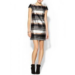 Pim Larkin Striped Metallic Shift Dress